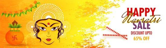 Happy Navratri Sale header or banner design with 65% discount of. Fer, Hindu Mythological goddess Durga face, kalash and floral garland Toran decorated on stock illustration