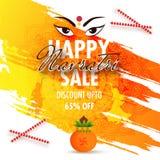 Happy Navratri Sale template or flyer design with 65% discount o. Ffer and illustration of goddess Durga eyes on brush stroke ornamental background Royalty Free Illustration