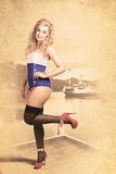 Happy navy pinup girl in retro fashion accessories Stock Photography