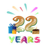 Happy 22nd Anniversary celebration with gift Stock Images