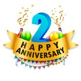 Happy 2nd Anniversary Celebration Royalty Free Stock Photo