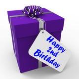 Happy 2nd Birthday Gift Shows Celebrating Royalty Free Stock Photo