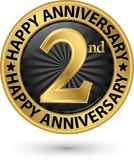 Happy 2nd years anniversary gold label, vector. Illustration Stock Photography