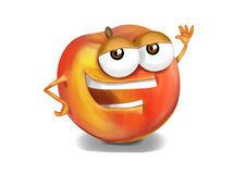Happy nectarine cartoon character laughing joyfully Stock Image