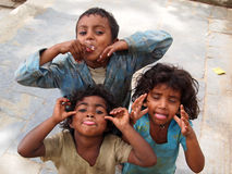 Happy Nepal kids playing on the street stock photos