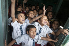 Happy nepalese children at school royalty free stock photo