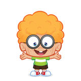 Happy nerd boy. Clipart picture of a happy nerd boy cartoon character stock illustration
