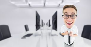 Happy nerd businessman in conference room. Digital composite of Happy nerd businessman in conference room Stock Images