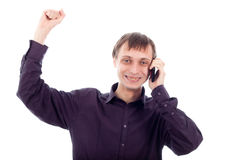 Happy nerd man on the phone Royalty Free Stock Images