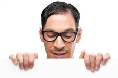 Happy nerd with placard Royalty Free Stock Photo
