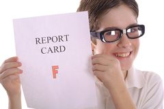 Happy nerd with report card Stock Photography