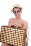 Happy nerd, vacation Stock Image
