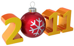 Happy New 2011 Year (Hi-Res). Orange shiny stylized 2011 word with glossy red xmas bauble as zero number. This is a detailed 3D render. Isolated on white Stock Images