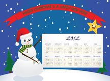 Happy New 2012!. A jolly snowman and bright star with the 2012 calendar on a hill on a snowing day with Merry Christmas & a Happy New Year banner Stock Photography