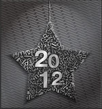 Happy new 2012 on metal. Abstract star of metal symbols. Happy new 2012 Royalty Free Stock Photo