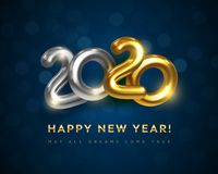Happy New 2020 Year Greeting Card With Text May All Dreams Come True Stock Images