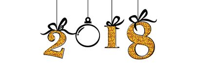 Happy new 2018 banner with gold numbers and decorative ball. Vector illustration Royalty Free Stock Photo