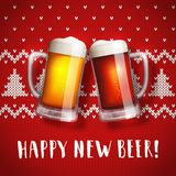 Happy new beer mugs poster on a christmas sweater background. Vector greeting card with two mugs of craft beer and traditional knit pattern. Hand drawn stock illustration