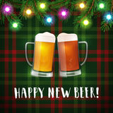 Happy new beer mugs poster. Royalty Free Stock Image