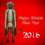 Happy New Chinese monkey Year, 2016. In red background Stock Photography