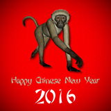 Happy New Chinese monkey Year, 2016. In red background Stock Photo