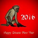 Happy New Chinese monkey Year, 2016. In red background vector illustration