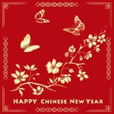 Happy new chinese year card with blossom tree and butterflies. Stock Photo