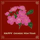Happy new chinese year card with blossom tree Royalty Free Stock Image