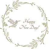 Happy new day. Vintage design for greeting card Royalty Free Stock Photos