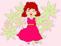 Happy new dress. The little girl is very happy as she tries her new pink dress stock illustration