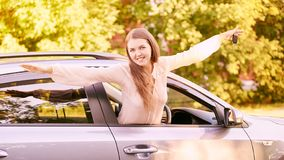 Happy new driver. Young person girl. Insurance vehicle royalty free stock images