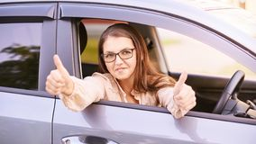 Happy new driver. Young person girl. Insurance vehicle royalty free stock image