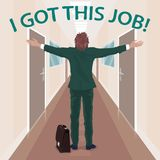 Happy new employee enjoys to got job. Worker with arms outstretched stands in long corridor of office in business center. Simplified realistic cartoon style Royalty Free Stock Images