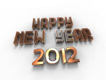 Happy new golden year. 3d illustration of words to wish the new golden year Royalty Free Stock Photos