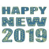 Happy new 2019. Hand drawing, isolate, lettering, typography, font processing, scribble. Designed for posters, cards, T-shirts and stock illustration