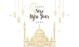 Happy New Hijri Year 1441. Holiday card. Muslim holiday Happy New Hijri Year 1441. Vector card with calligraphy, gold outline mosque, lanterns, crescent for vector illustration