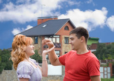 Happy new homeowners Stock Photos