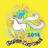Happy new horse year. Happy New Year greetings card for 2014 with white horse over a yellow background with fireworks Royalty Free Stock Image
