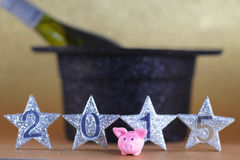 Happy new jear. Pig with a bottle proscco royalty free stock photos