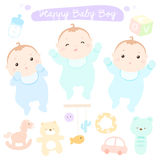 Happy new little cute baby boys  Stock Images