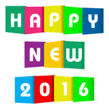 Happy new 2016 paper text. On a white background stock illustration