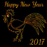 Happy New Rooster Year gold line greeting card. On black background Royalty Free Stock Photography