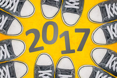 Happy new 2017, sneakers from above Stock Photo