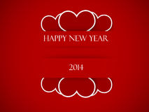 Happy new text on red strips, with hearts Stock Photos