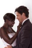 Happy new wed interracial couple in wedding mood Stock Photos
