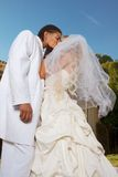 Happy new wed interracial couple in wedding mood Royalty Free Stock Photography
