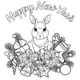 Happy New Yaer Pattern with Rabbit. Winter holiday plants with rabbit pattern. Black and white Happy New Year composition for greeting cards, mock ups, coloring Royalty Free Stock Images