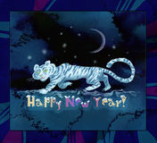 Happy New Year!. White tiger at night. An inscription-congratulation Stock Photo