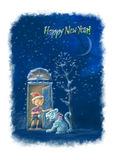 Happy New Year!. The boy before a white tiger Royalty Free Stock Image