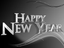 Happy New Year. Black and white design with 3D Happy New Year Royalty Free Stock Image